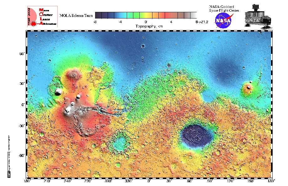 MOLA Quarterdegree Global Topography Model - Global topographic map